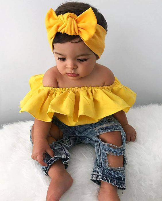 3-piece Baby Girl Off Shoulder Suit