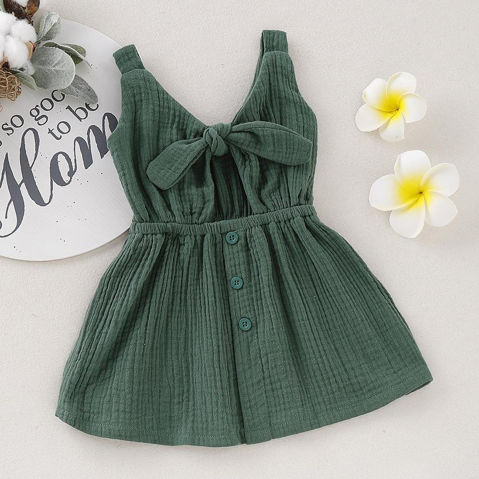 Baby Simple Bow Cotton Linen Dress