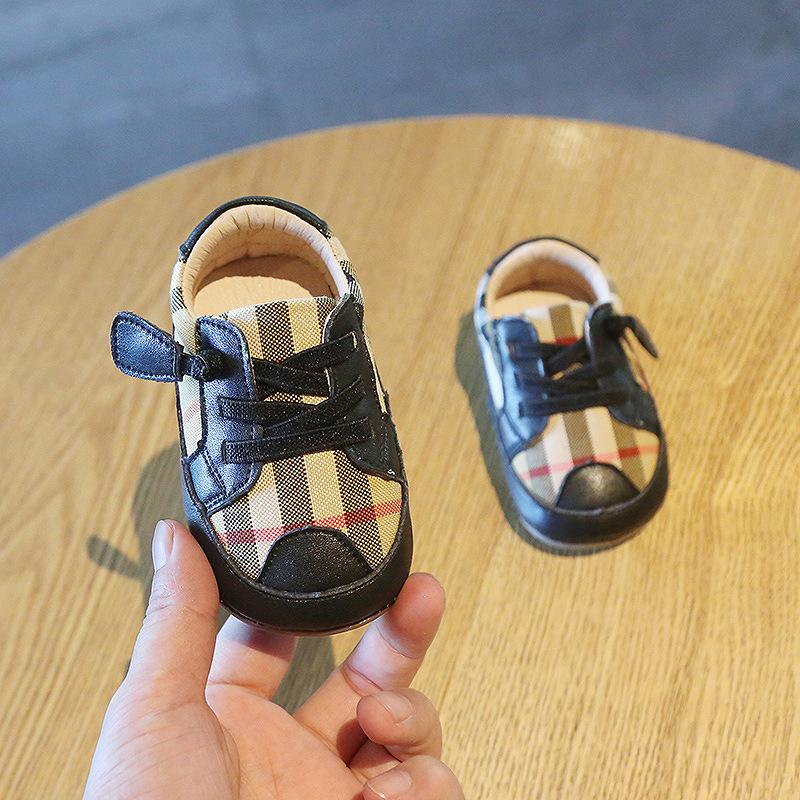 0-2 Year Old Plaid Toddler Soft Bottom Shoes