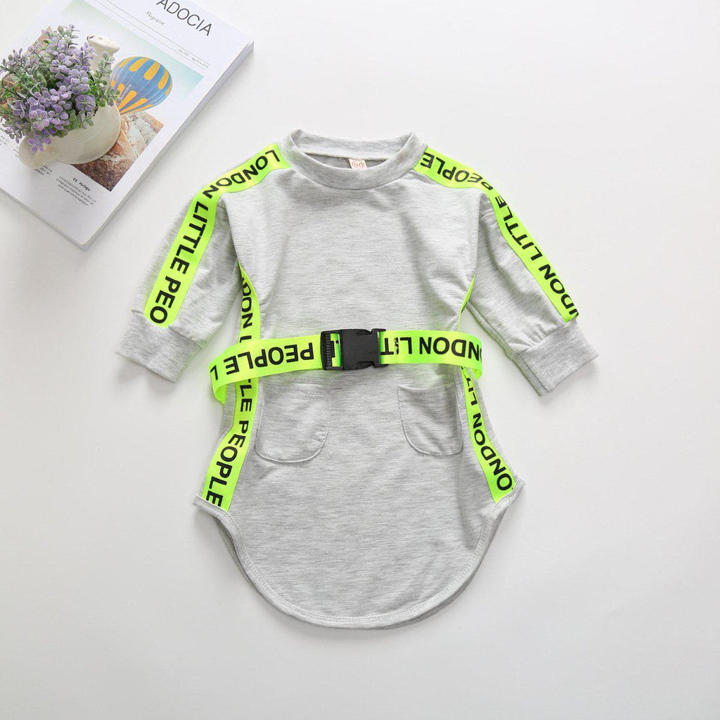 Girls Letter Belt Sweater Dress