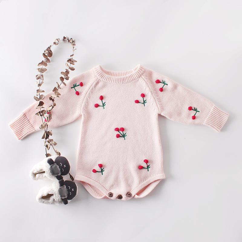 Baby Cherry Knit Romper