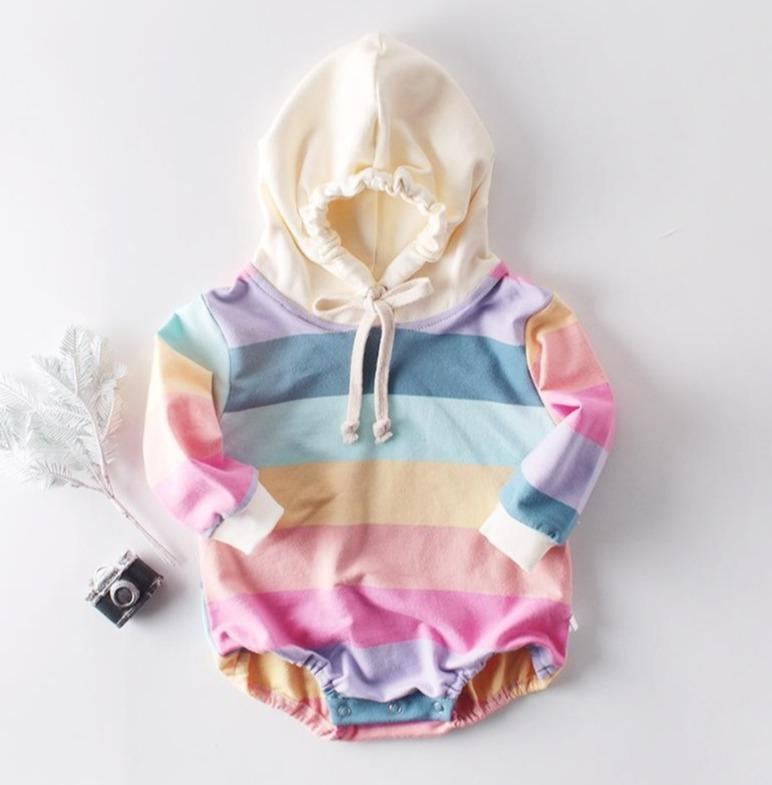 Autumn Baby Rainbow Hooded Romper
