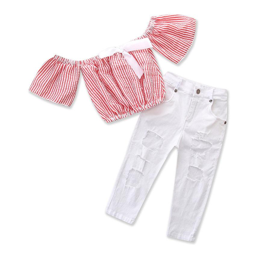 2-Piece Girls' Striped Top + Ripped Pants Suit