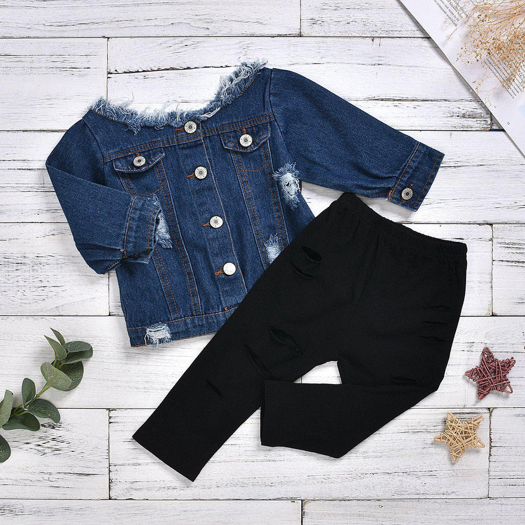 Girls Cowboy Woven Top + Cotton Shredded Pants