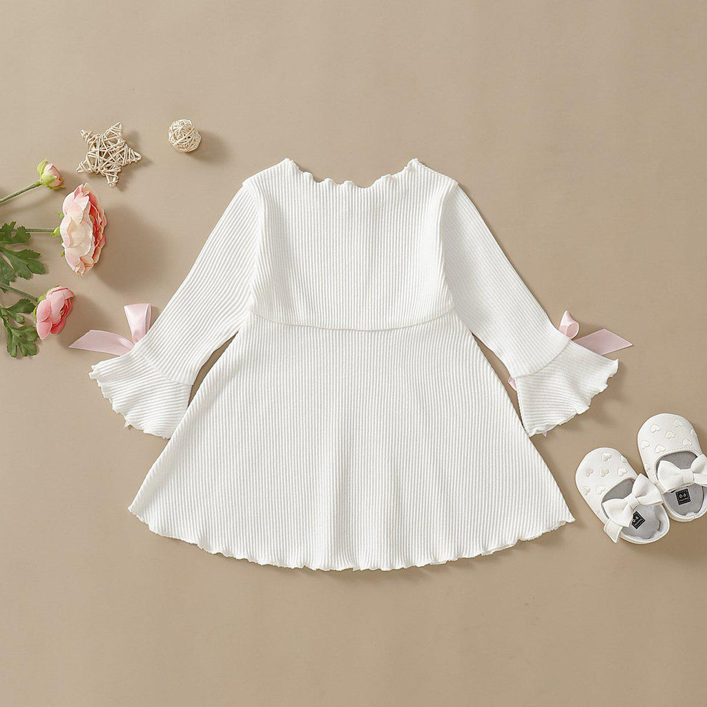 Baby Knit Lace Solid Color Dress