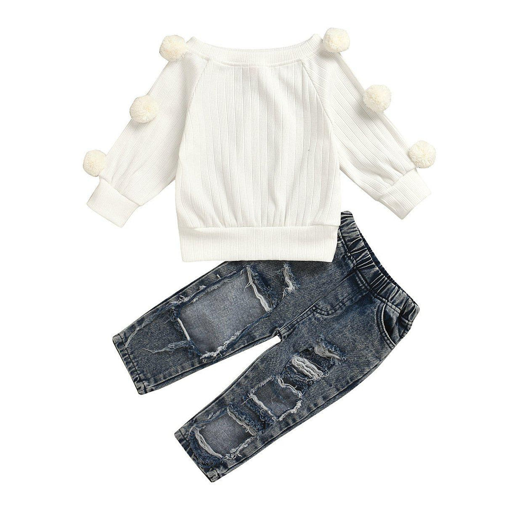 2-Piece Girls' Cotton Knit Suit