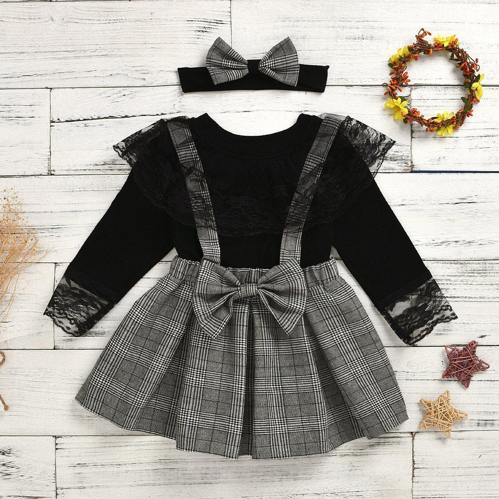 2-Piece Girls Plaid Strap Lace Skirt Suit