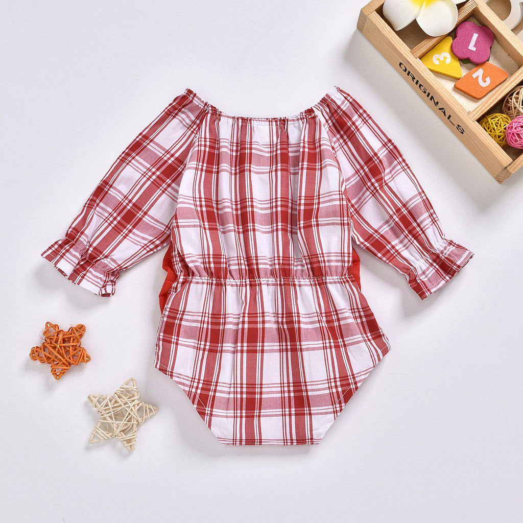 Girls Plaid Bow Romper