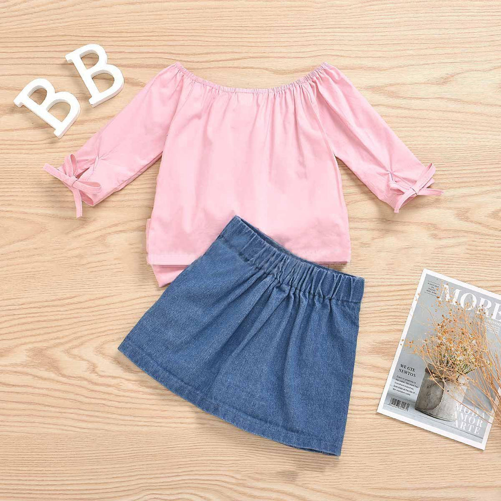2-Piece Baby Kids' Summer Top + Denim Skirt