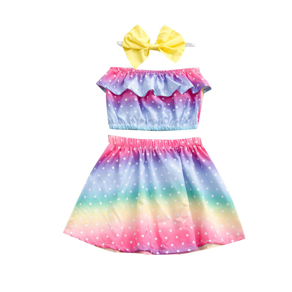 Girls' Shoulder Rainbow Skirt Set