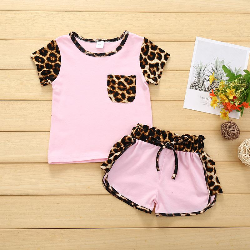 Girls Casual Leopard Stitching Suit