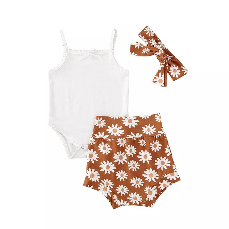 3-piece Baby Flower Romper Set