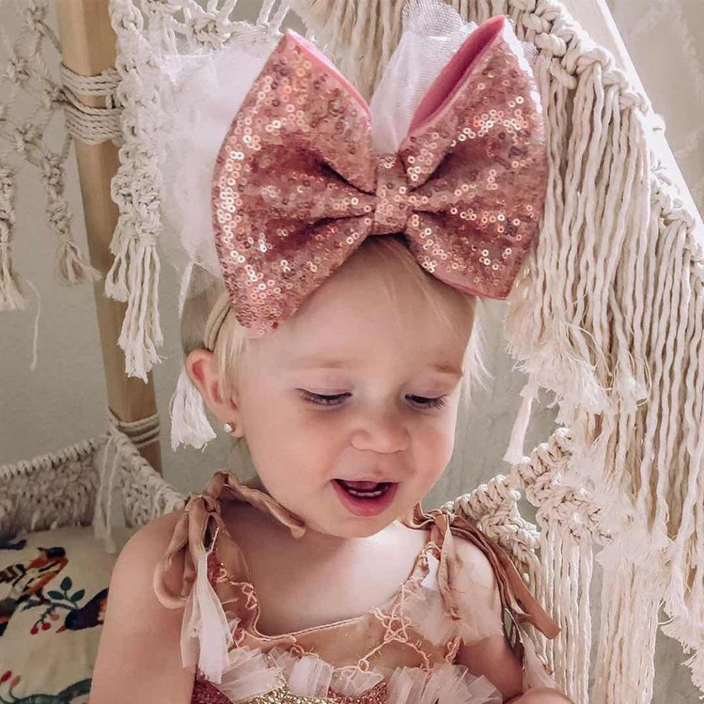 Girls bow sequin headband