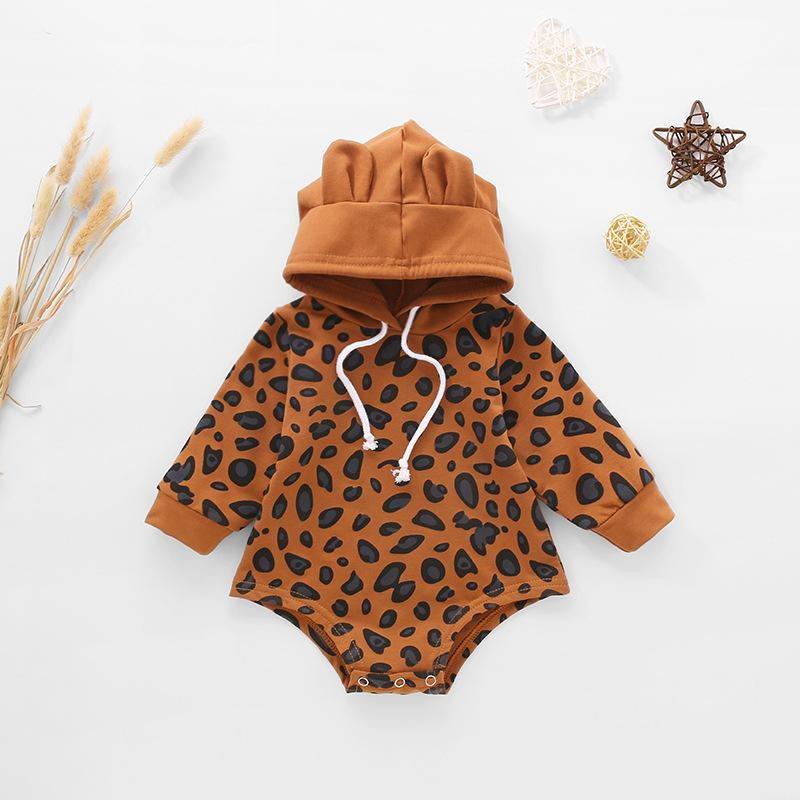 Baby Leopard Cotton Hooded Romper