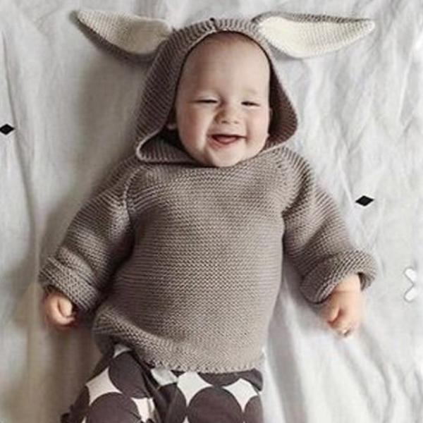 Baby cotton rabbit ears hooded sweater coat jacket