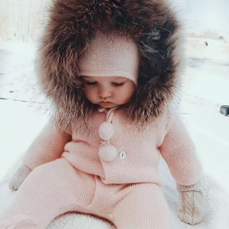 Winter Baby Collar Warm Jumpsuit