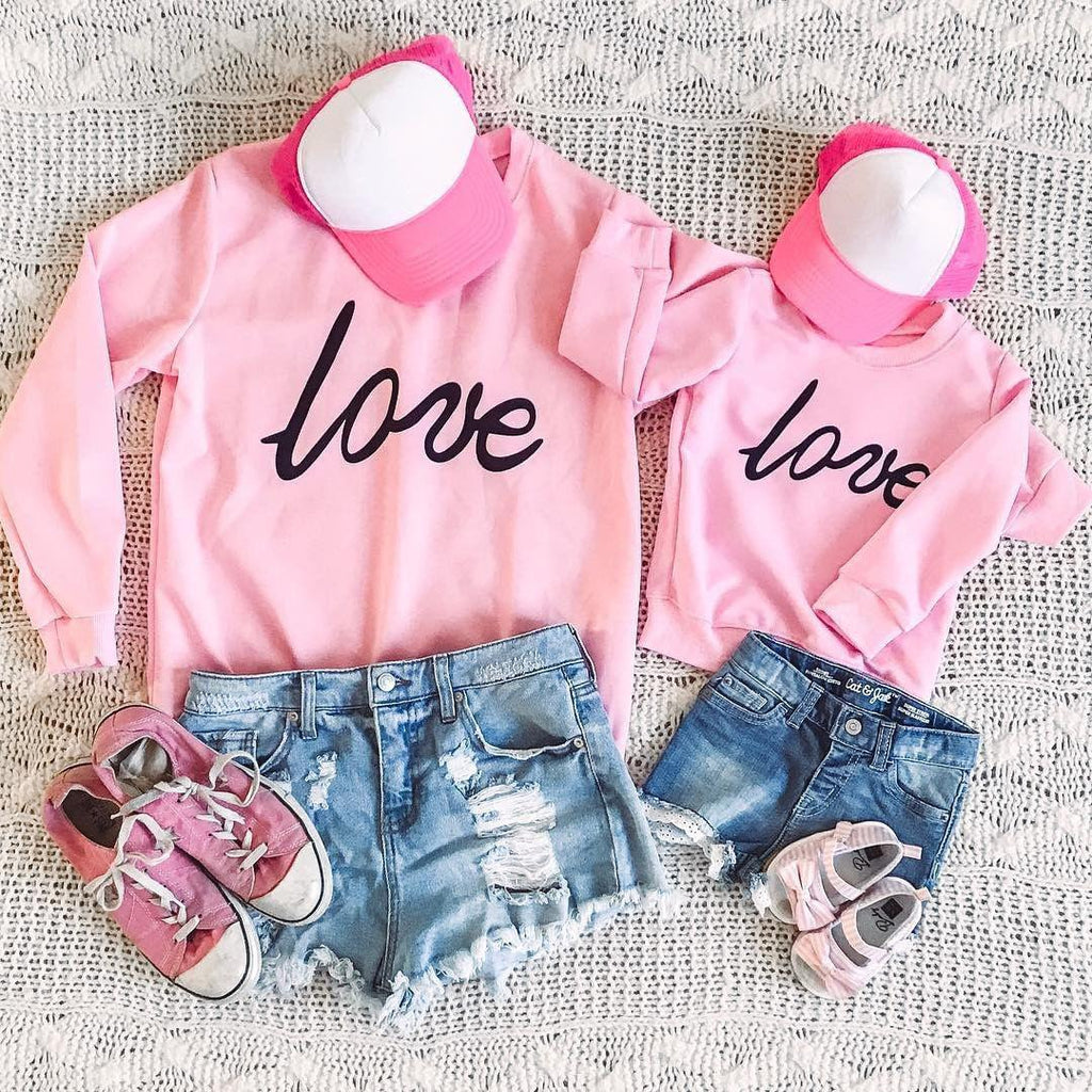Pink Love Print Family Sweatshirt