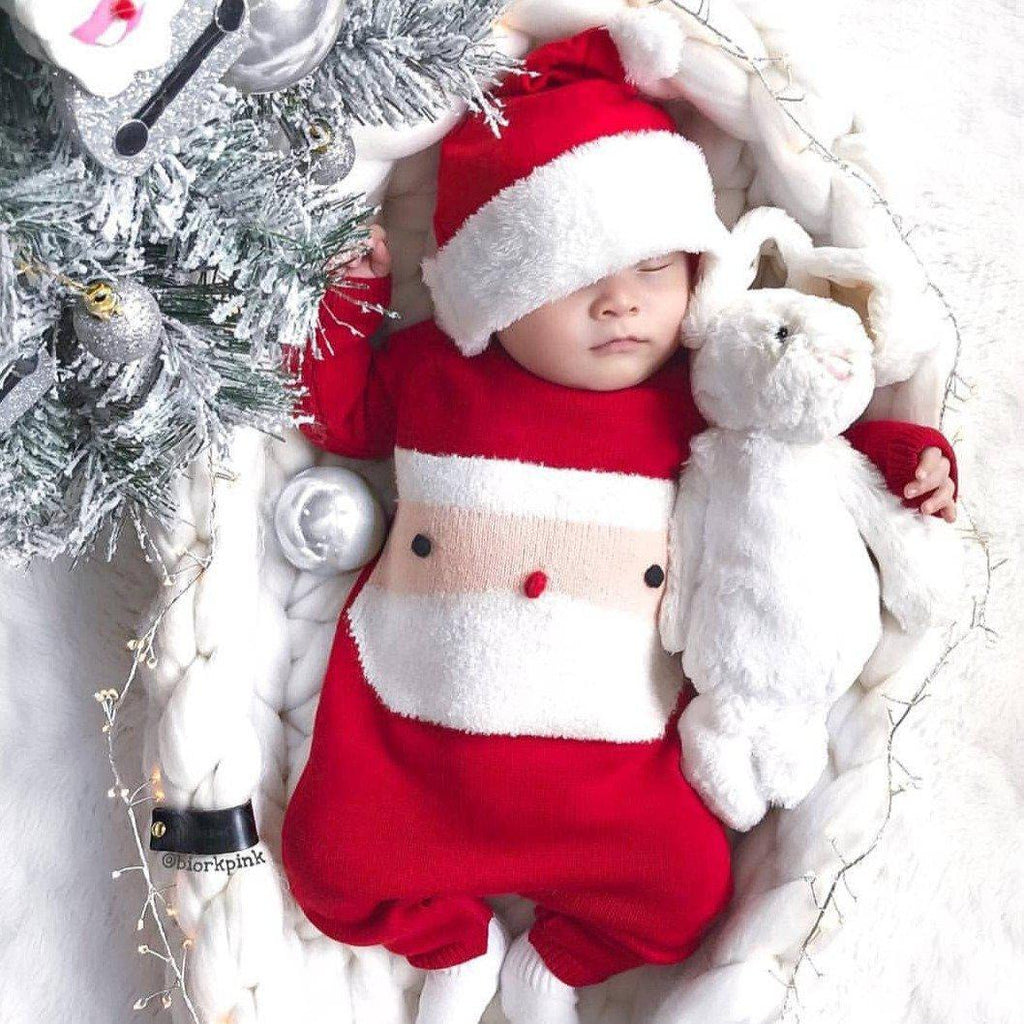 Baby Christmas Knit Jumpsuit Outfit