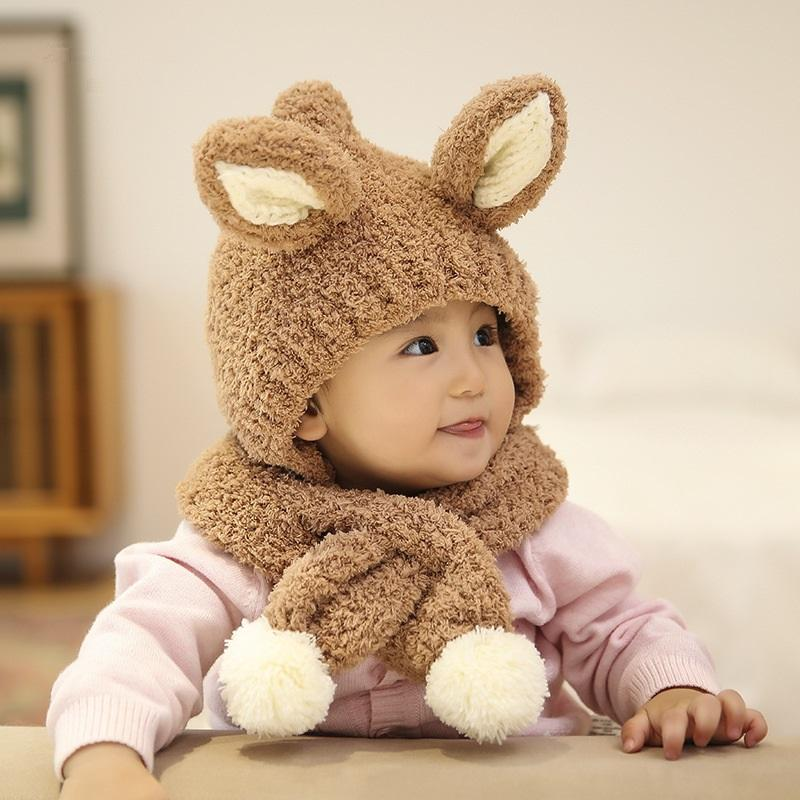 Baby Padded Windproof Warm Scarf Lamb Woolen Cap