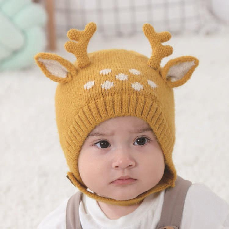Baby Lace-up Antler Wool Hat