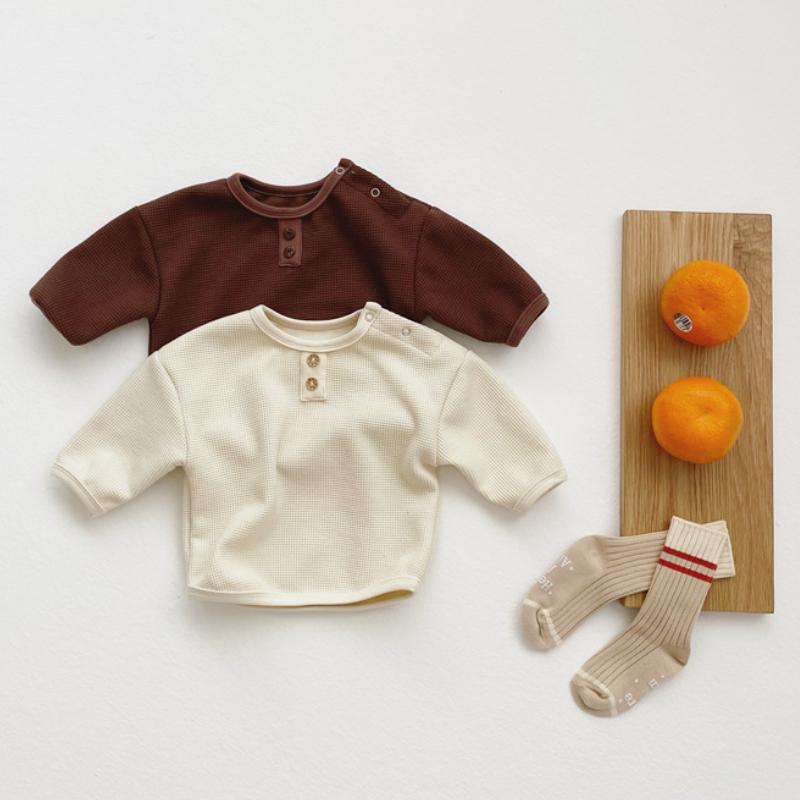 2-Piece Infant Soft Check Long-sleeved Top & Shorts