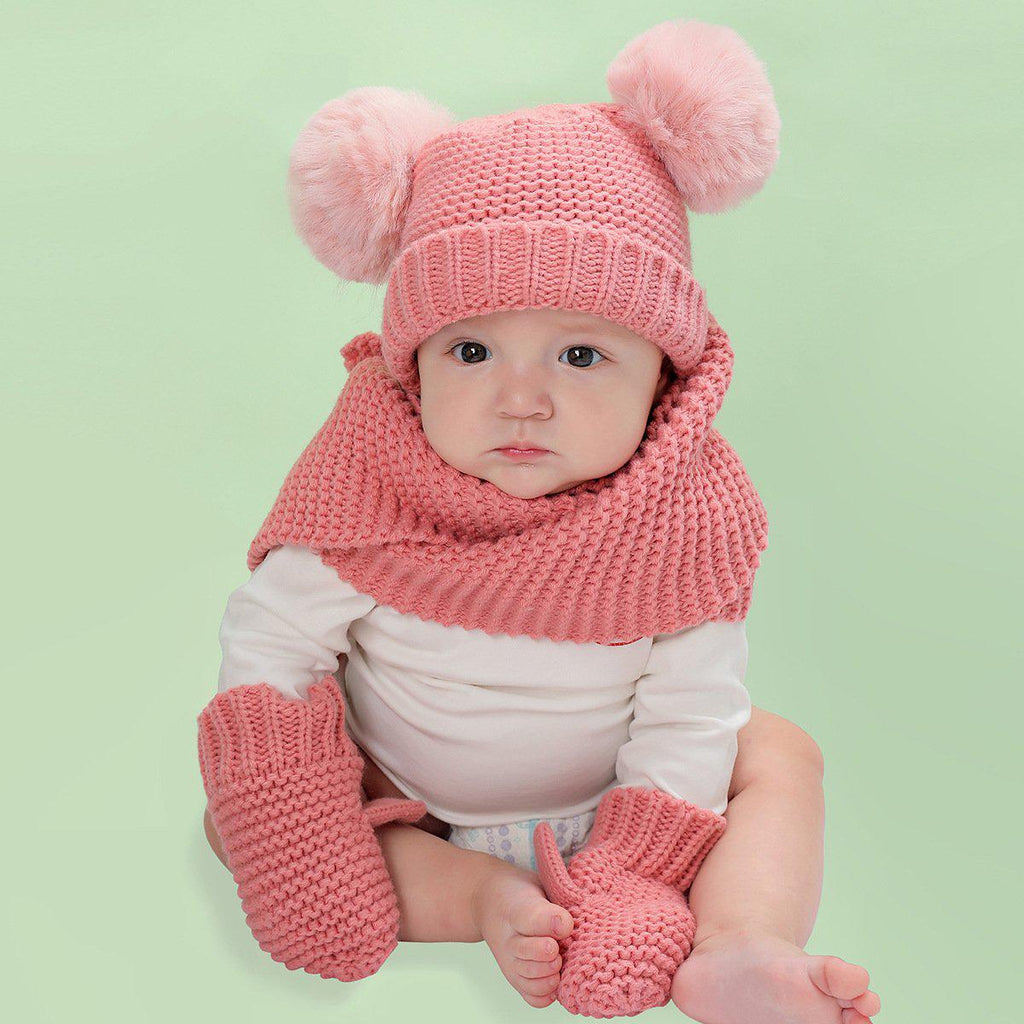 2-Piece warm children Hat Scarf Gloves