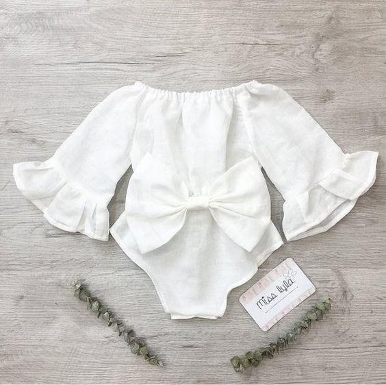 Long-sleeved bow baby cotton romper