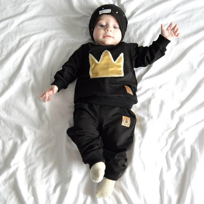 2018ins hot style junior cotton long-sleeve crown two-piece set