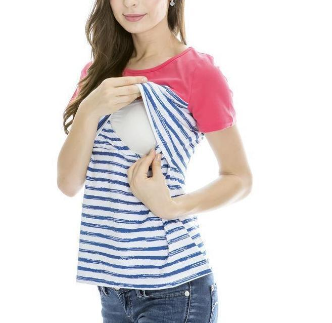 Striped Maternity Dress Breastfeeding T-shirt