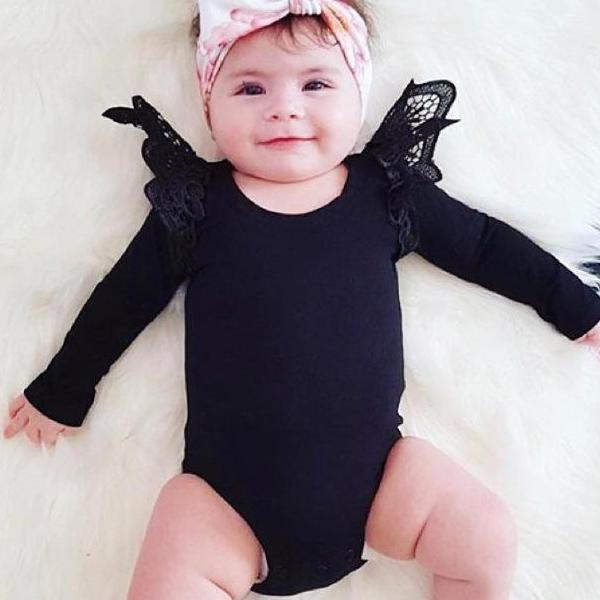 HOT Autumn pure color lace flying sleeve khaki crawler suit