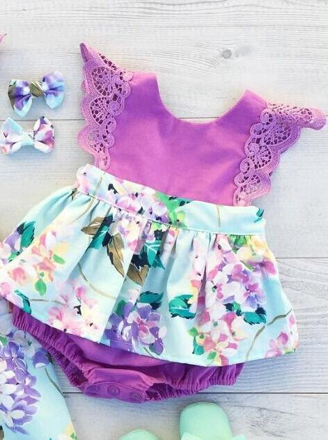 2-piece Baby Flower Romper Dress
