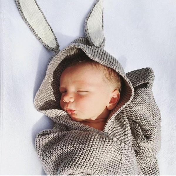 Newborn Baby Blanket Swaddle Sleeping Bag Wrap Rabbit Ear Cute Knit Blanket