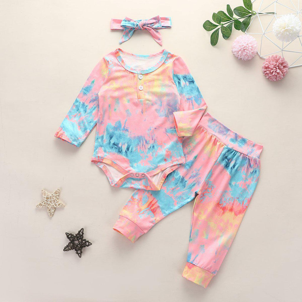 3-Piece Baby Tie-dye Romper Cotton Sets