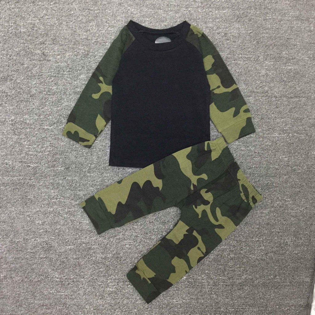 2-piece Infant long sleeve camouflage print suit