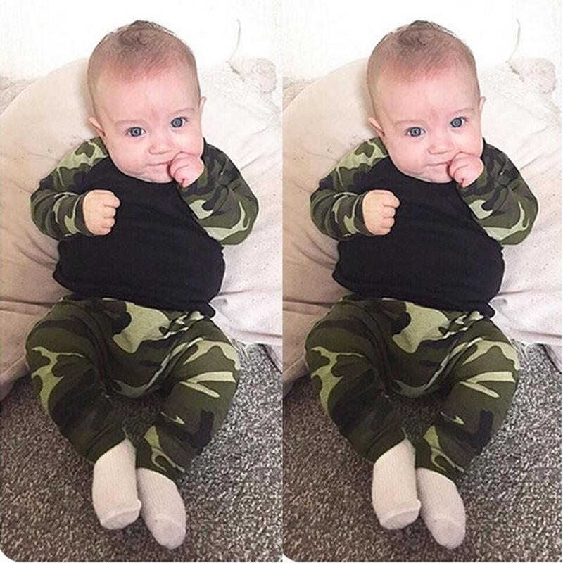 Infant long sleeve camouflage print male and female baby two-piece set