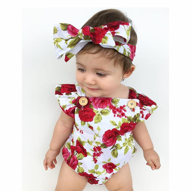 2-piece Baby Flower Cotton Romper
