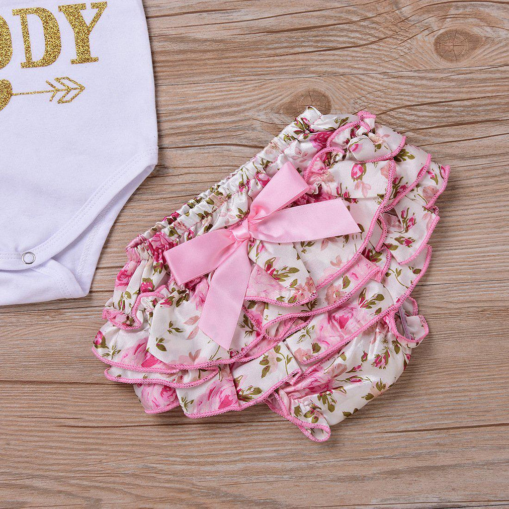 4-piece Baby Stamping Letters Flower Suit