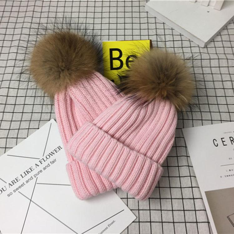2-Piece Hair Ball Wool Parent-child Cap