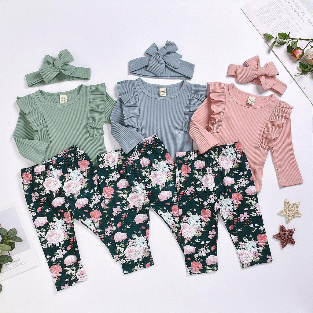3-Piece Baby Floral pants Sets