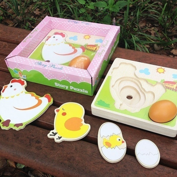 Chicken Hen Eggs growth process jigsaw puzzle kindergarten preschooltoys