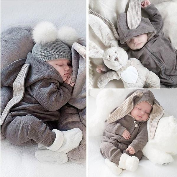 Wonderful Newborn Infant Baby Girl Boy Rabbit 3D Ear Warm Romper Jumpsuit Outfits Clothes