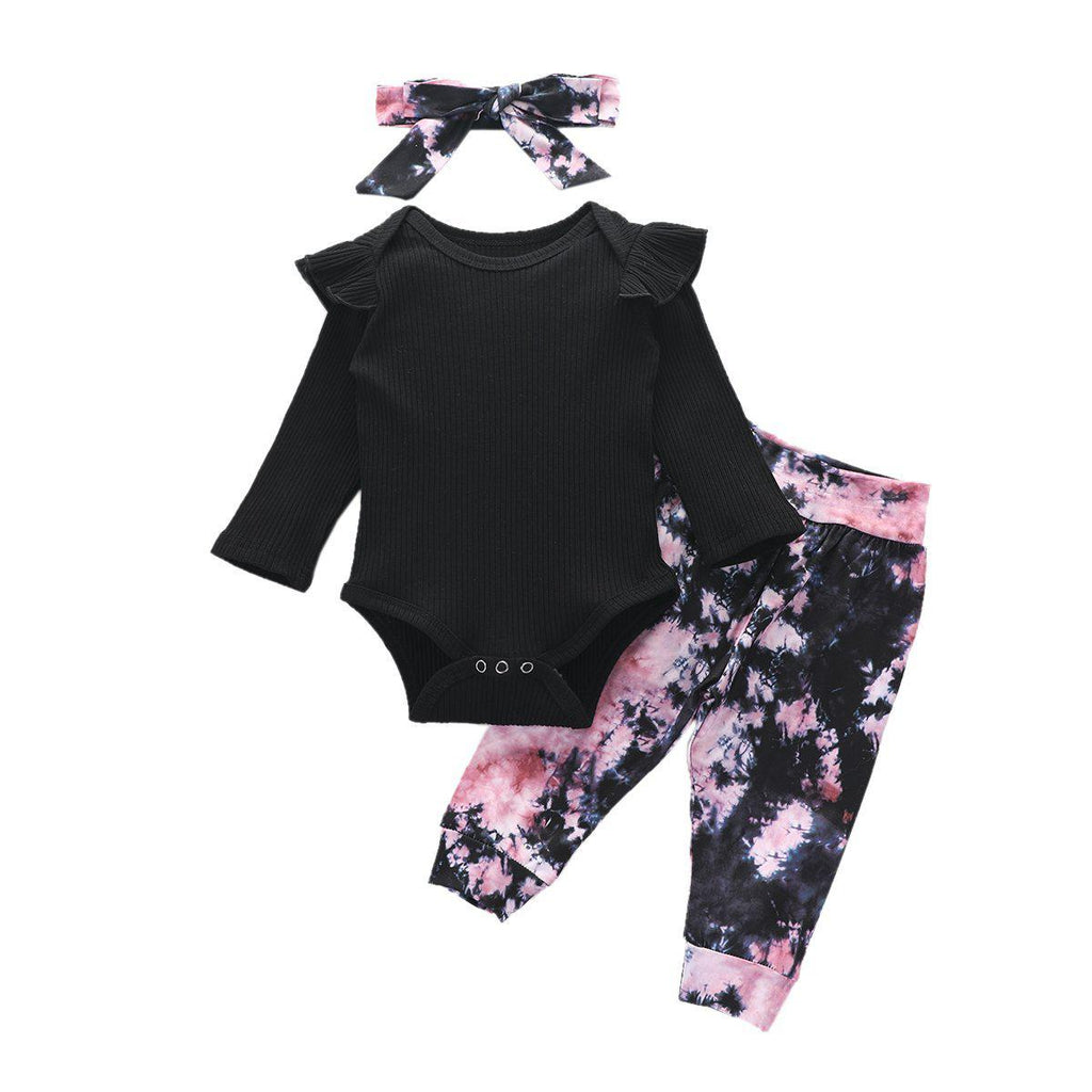 3-Piece Baby Floral Romper Cotton Sets