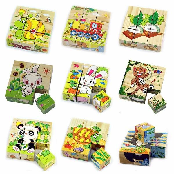 Wooden 3D Puzzle Blocks Cube Jigsaw Animals Education Learning Baby Kids Toy HOT