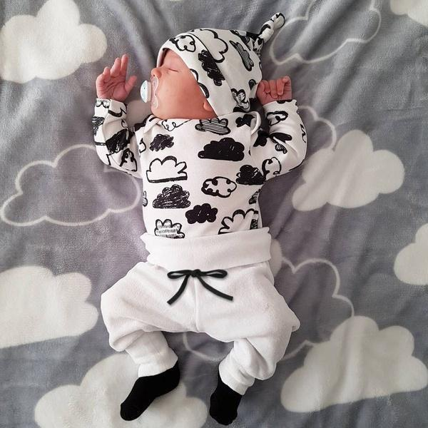 Ins hot style boy's lovely cotton cloud print three-piece set