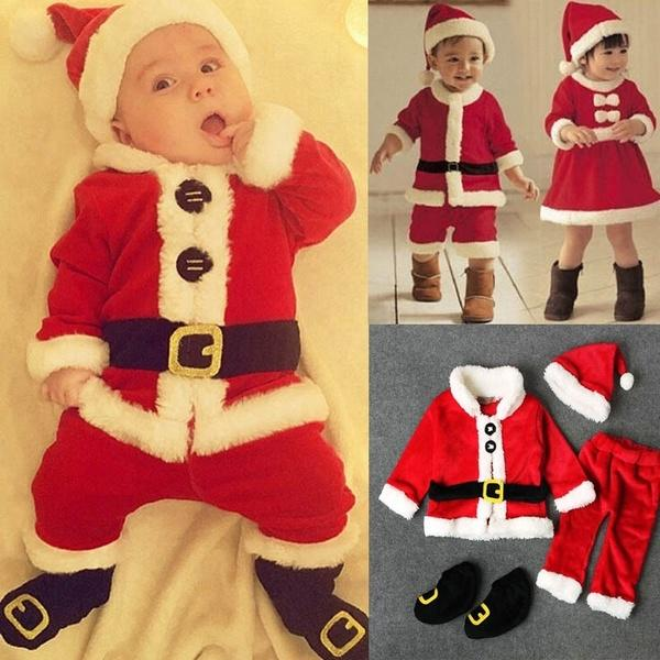 ?New Baby Romper Newborn Boys Girls Christmas Santa Claus Tops+Pants+Hat+Socks Outfit Set Costume New Year Clothes