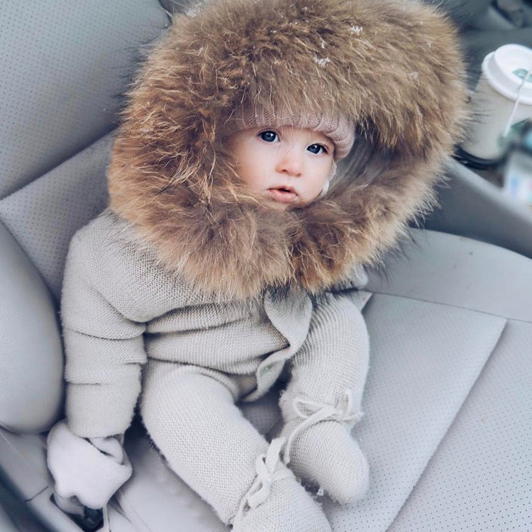 Quality Update HOT !!!Winter Baby Big Fur Collar Warm Jumpsuit Baby Hoody Knit Romper