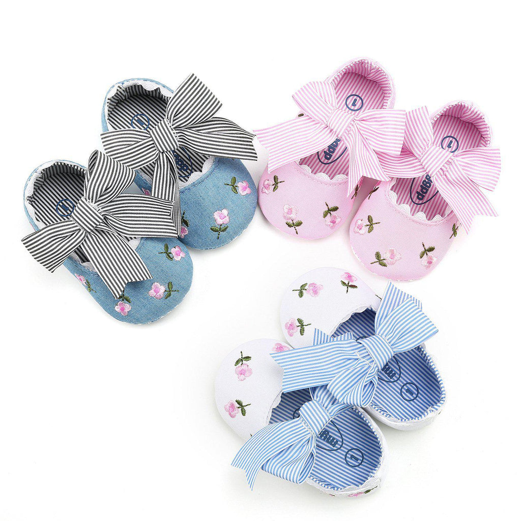 Baby Bowknot Embroidered Shoes 0-18m