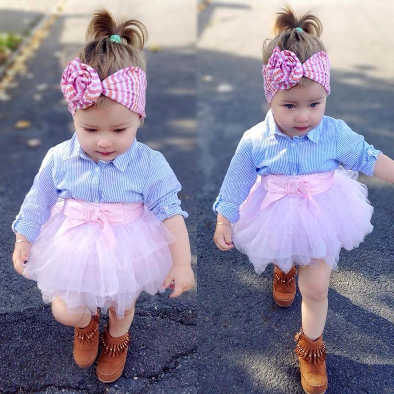 2-piece baby cute pink gauze skirt shirt set