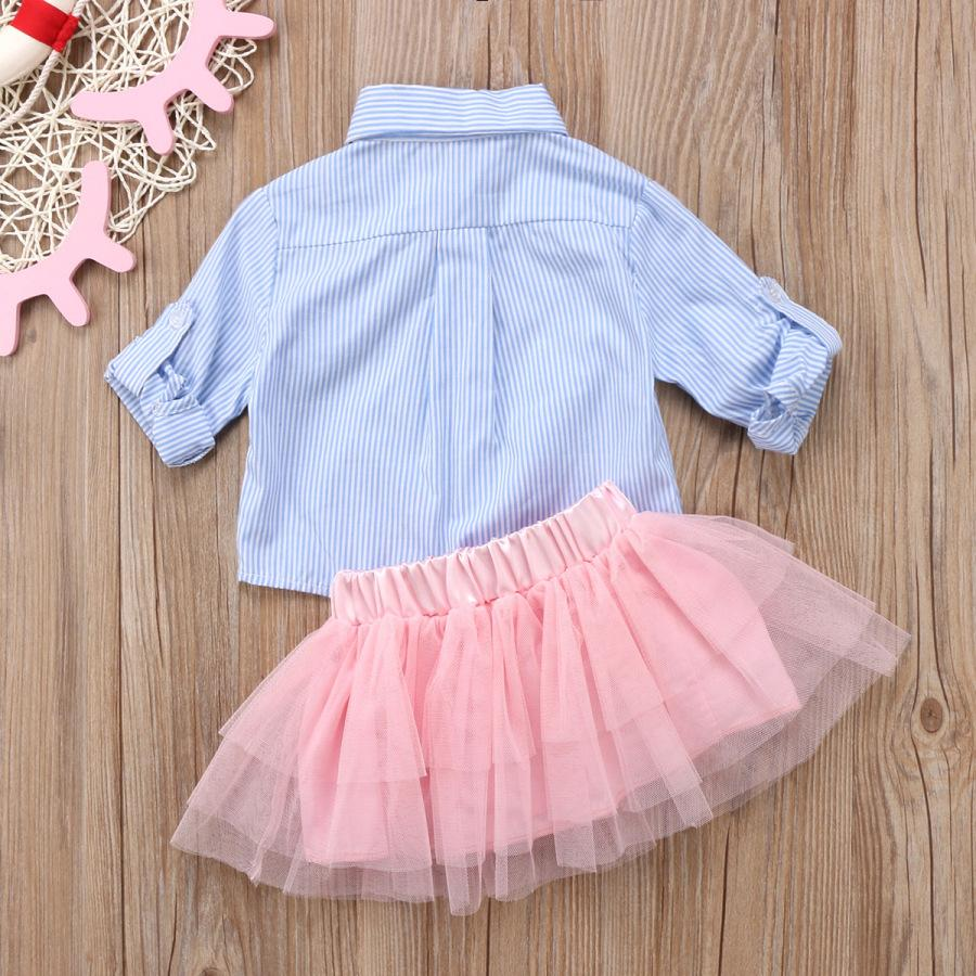 2-piece baby cute pink gauze skirt shirt set dress