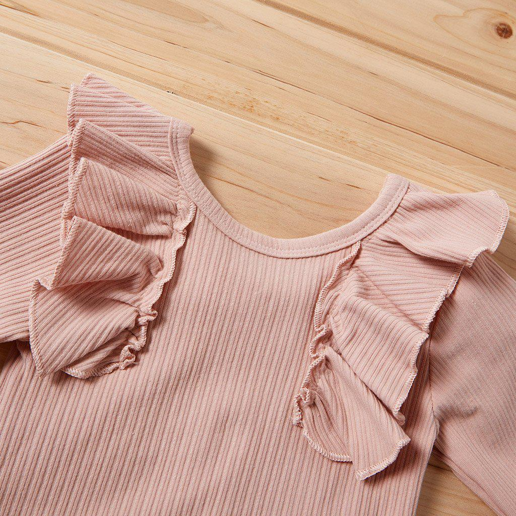 3-Piece Girls Cotton Ruffled Suit